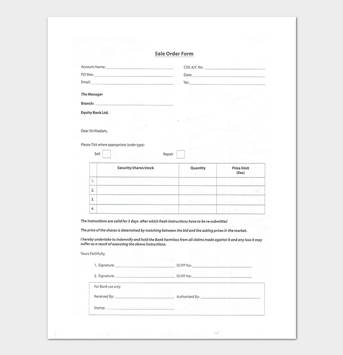 Shares Sales Order Form Template