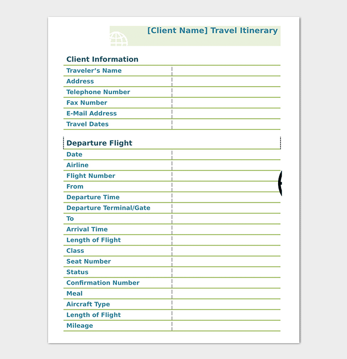 Business travel itinerary template 23 word excel pdf simple business travel itinerary template wajeb Image collections