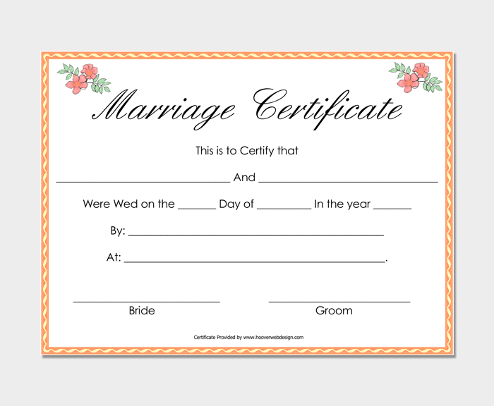 Simple Marriage Certificate 1