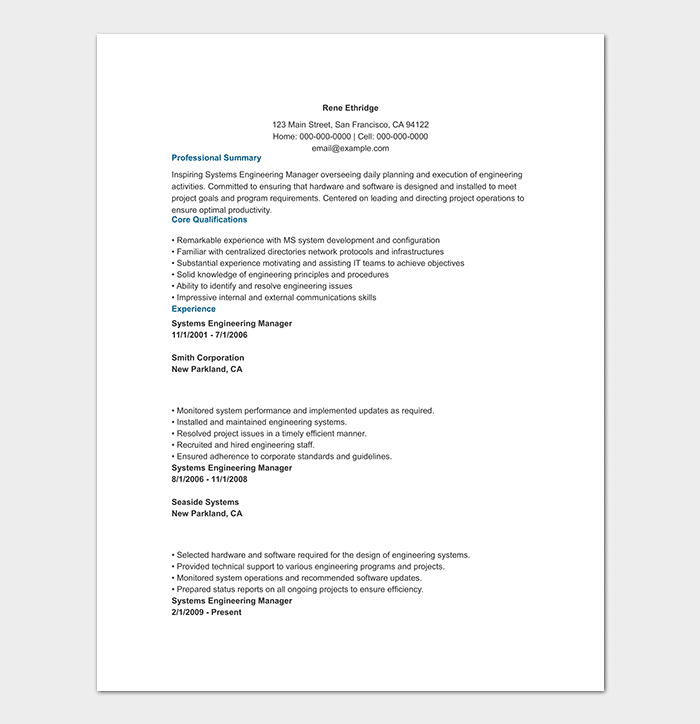 engineering resume template 20 examples for word pdf format