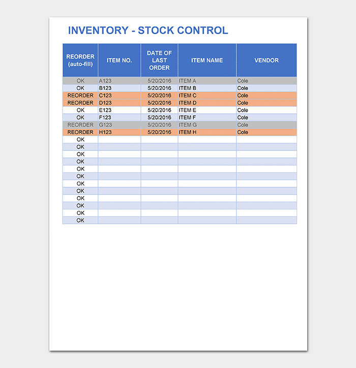 Inventory tracking template