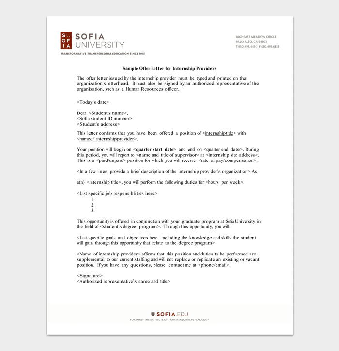 Student Internship Appointment Letter Example