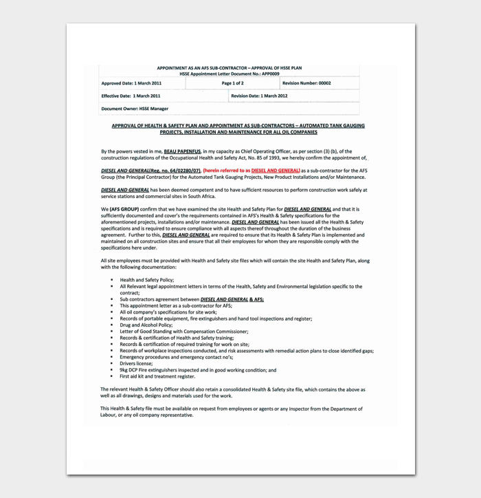 Subcontractor Appointment Letter Format