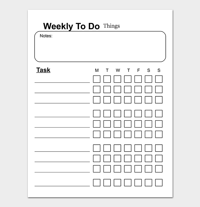 Things To Do List Template - 20+ Printable Checklists (Word, Excel ...