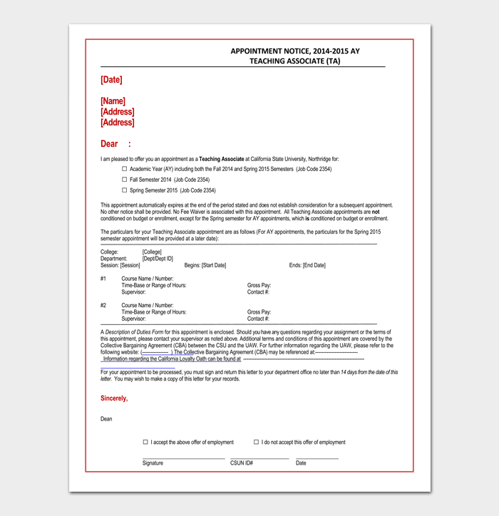 Teaching Associate Appointment Letter Doc