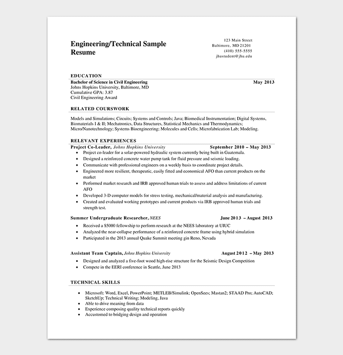 Technical Engineering Resume Template