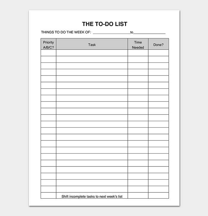 Template Things To Do List