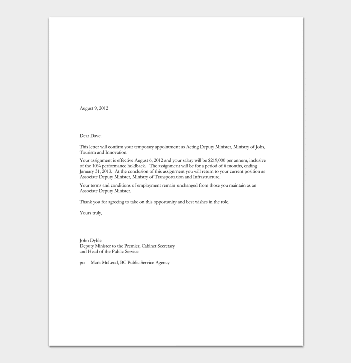 Temporary Appointment Letter Example