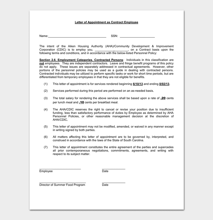 Temporary Appointment Letter - 9+ (Samples & Formats)