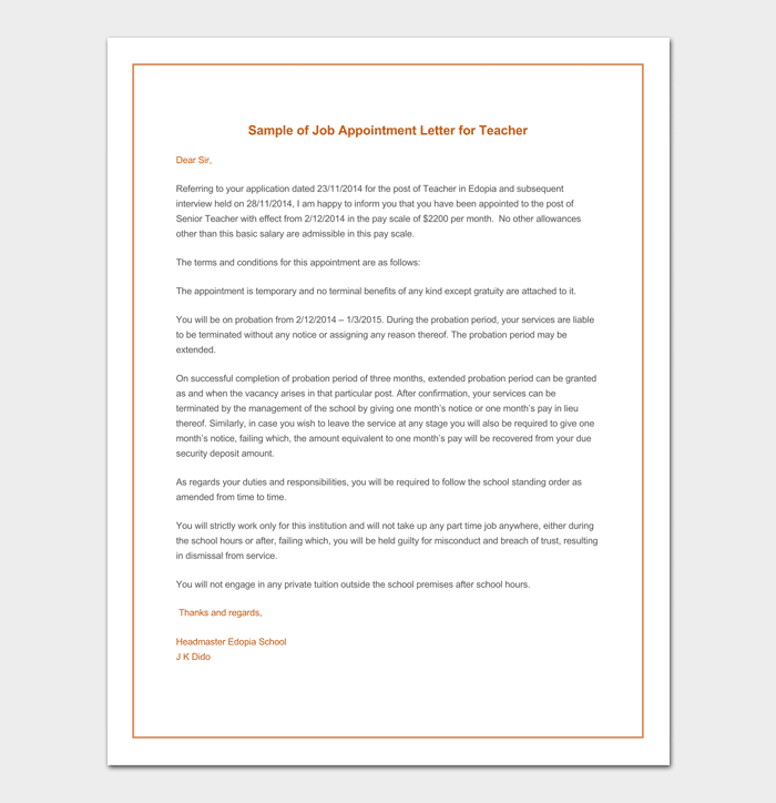 Temporary Job Appointment Letter Format