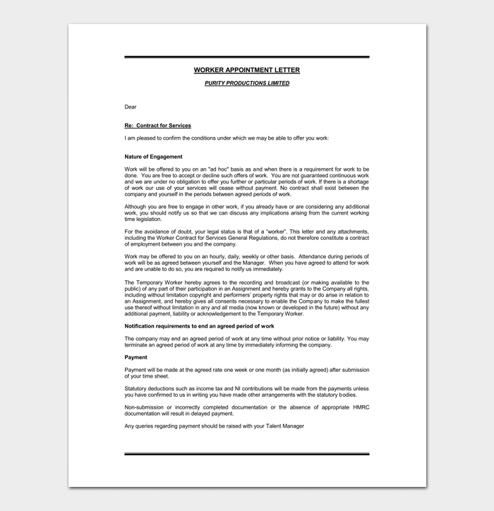 Temporary Worker Appointment Letter Example