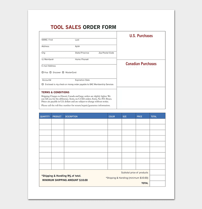 Tool Sales Order Form Template
