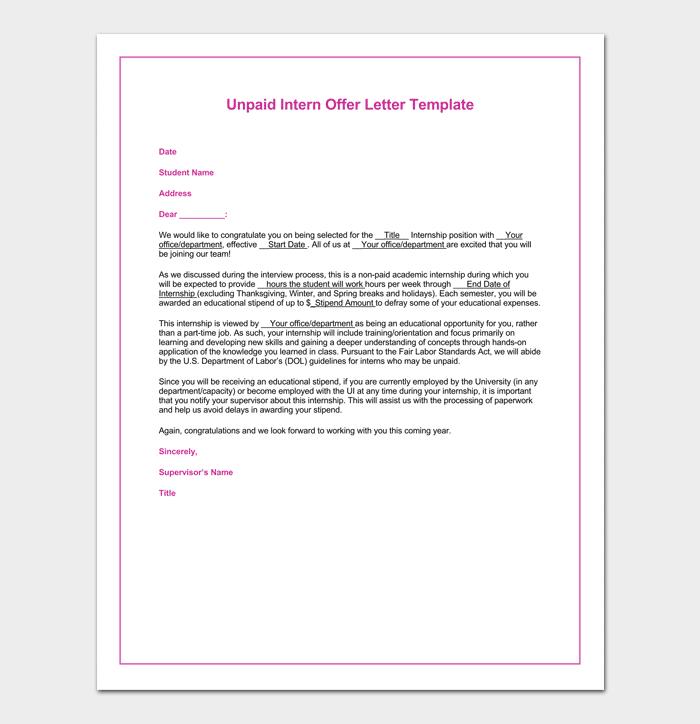 UnpaidInternship Appointment Letter Sample
