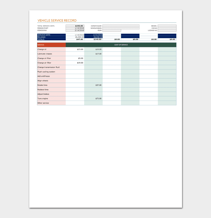 Vehicle Service Sheet Template (for Excel)