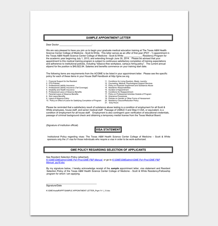 Visa Interview Appointment Letter Format