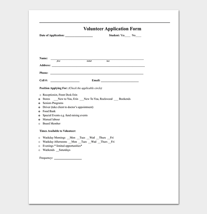 Volunteer Application Form for Word