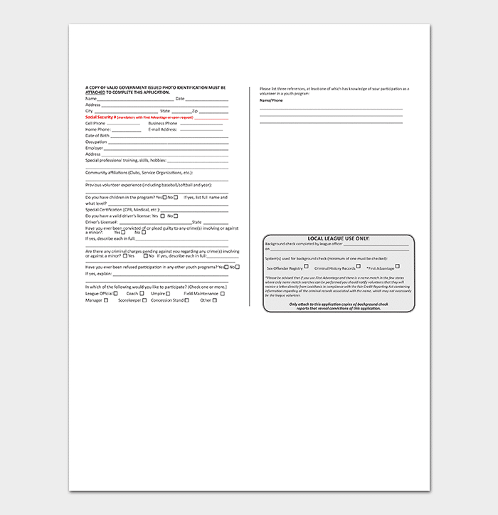 Volunteer Application Form in PDF