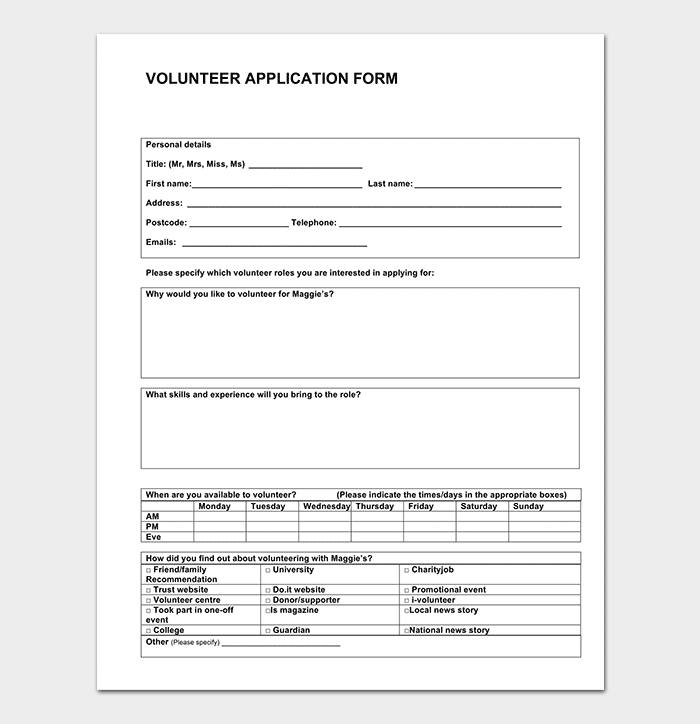 Volunteer Application Template 20 Forms Doc Amp Pdf Format