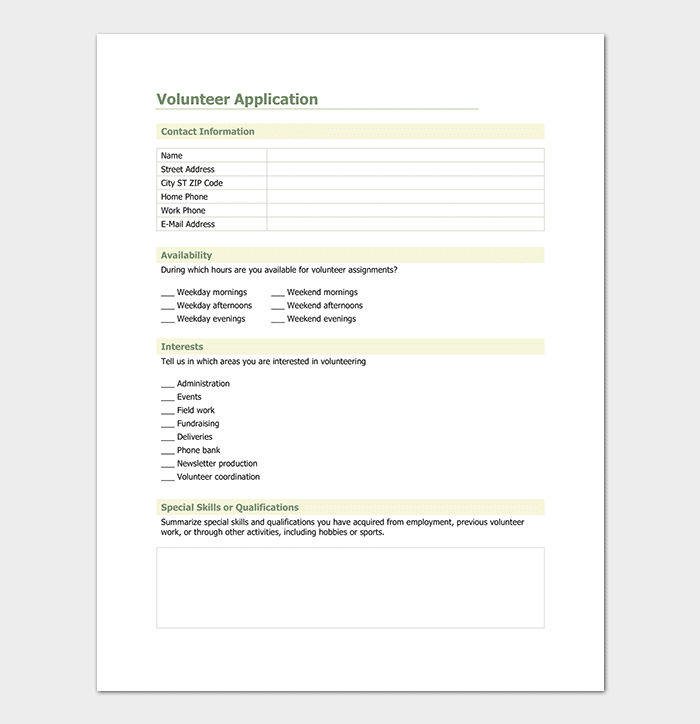 Volunteer Application Template Sample
