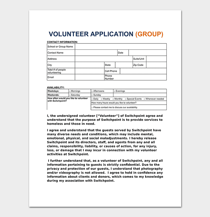 Volunteer Application Template in Word
