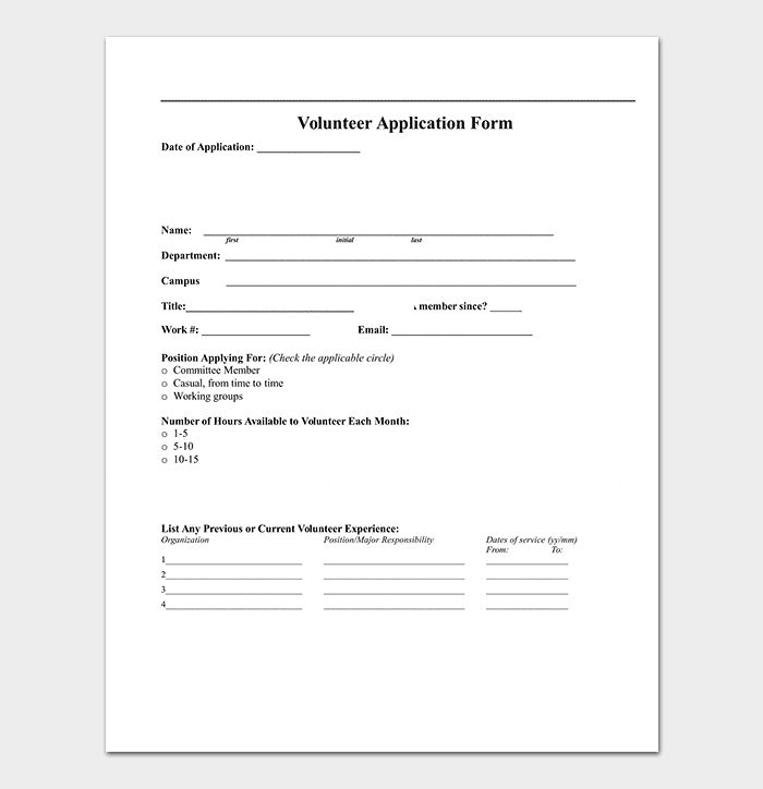 Volunteer Application Template(DOC)