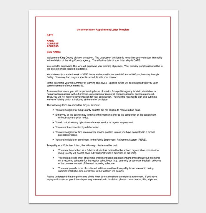 Volunteer Internship Appointment Letter