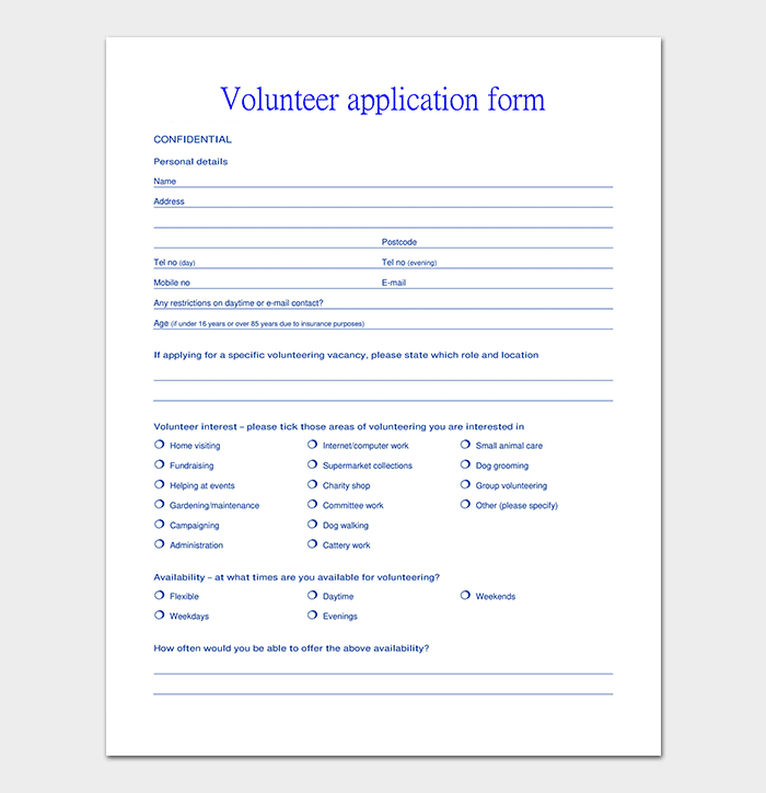 volunteer application template 20 forms doc pdf format