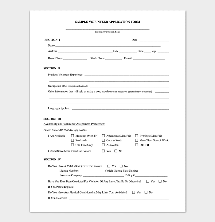 Volunteer Registration Application Form Template