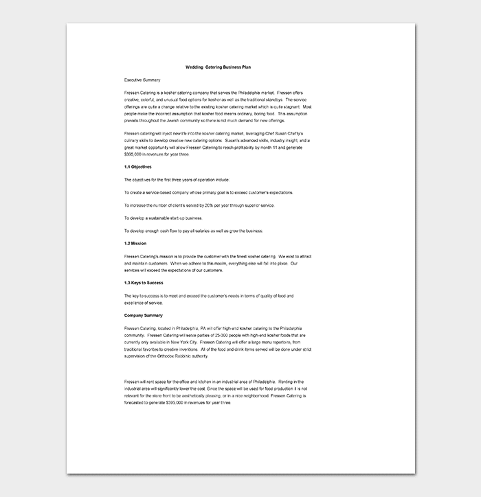Catering Business Plan Template 11 For Word Doc Pdf Format