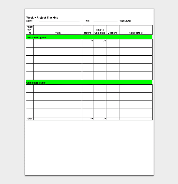 Weekly Project Tracking Spreadsheet