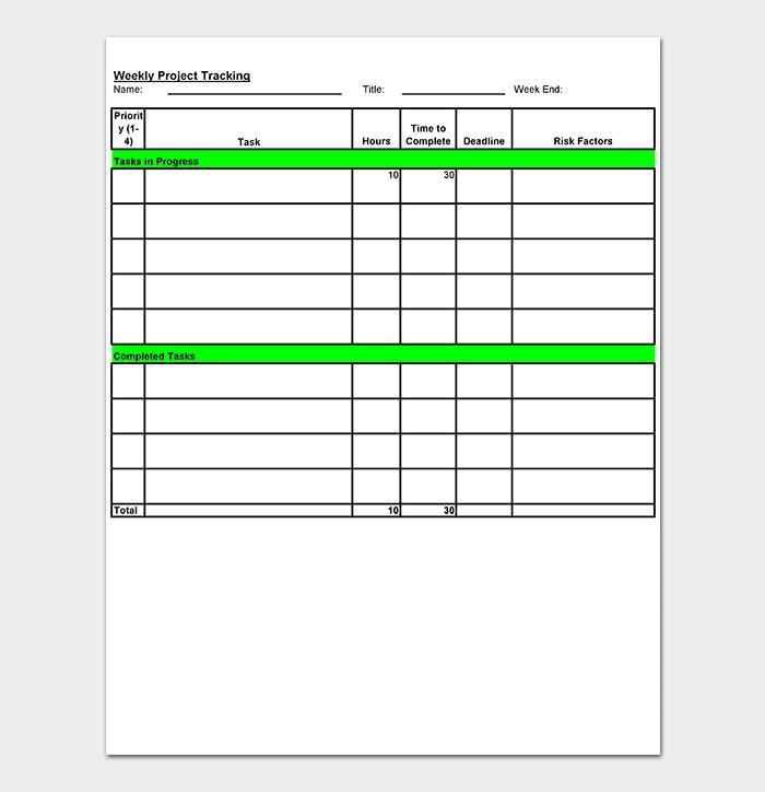 weekly tracking spreadsheet