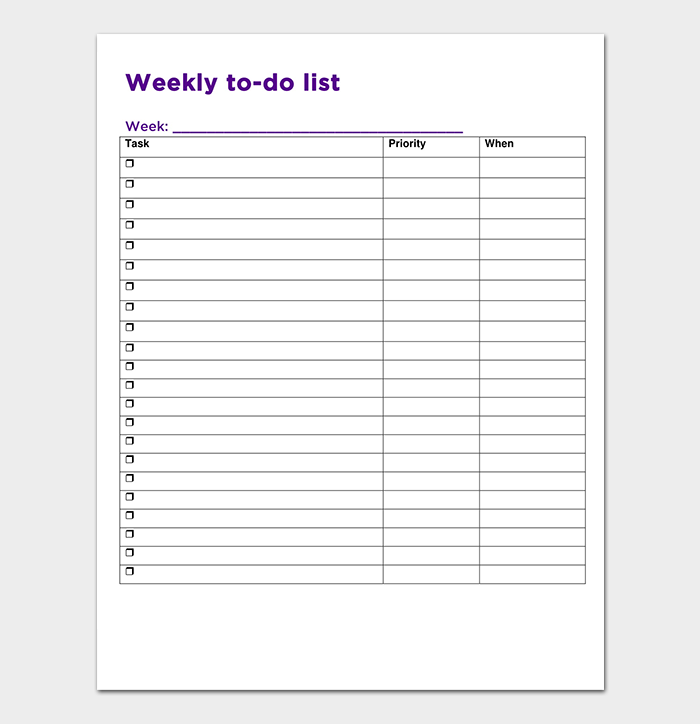 Weekly To Do List Template
