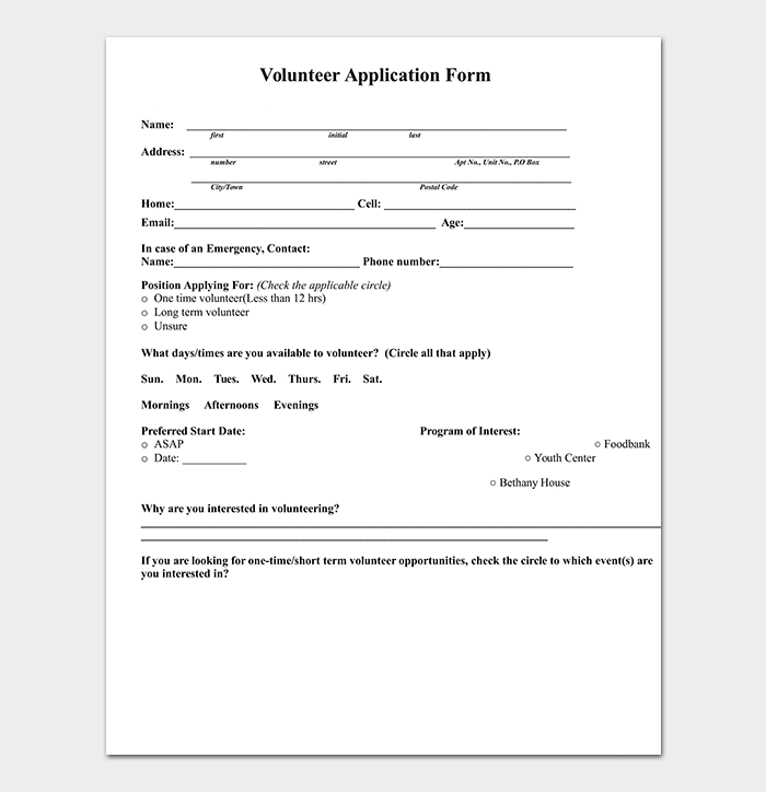 Word Volunteer Application Template