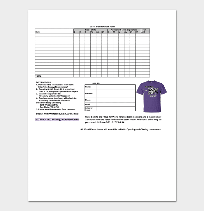 2016 T Shirt Order Form Template