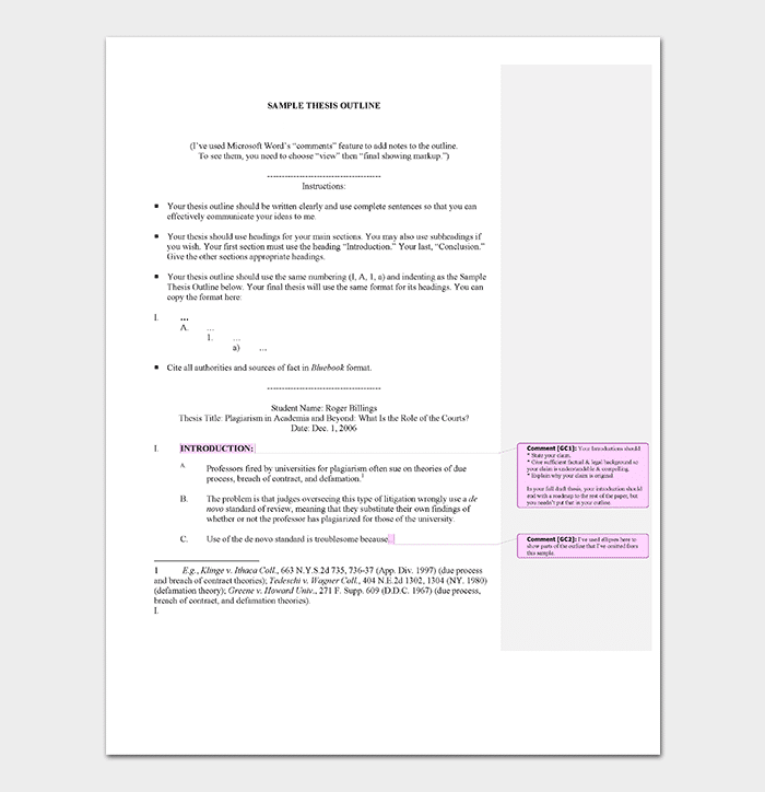 Academic Thesis Outline Template