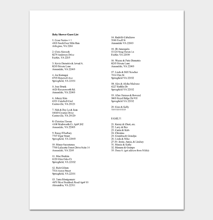 Baby Shower Guest List Template DOC