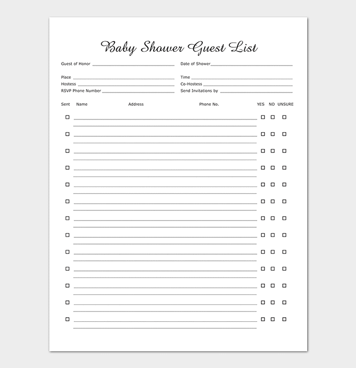 Baby Shower Guest List Template  Guest List Template