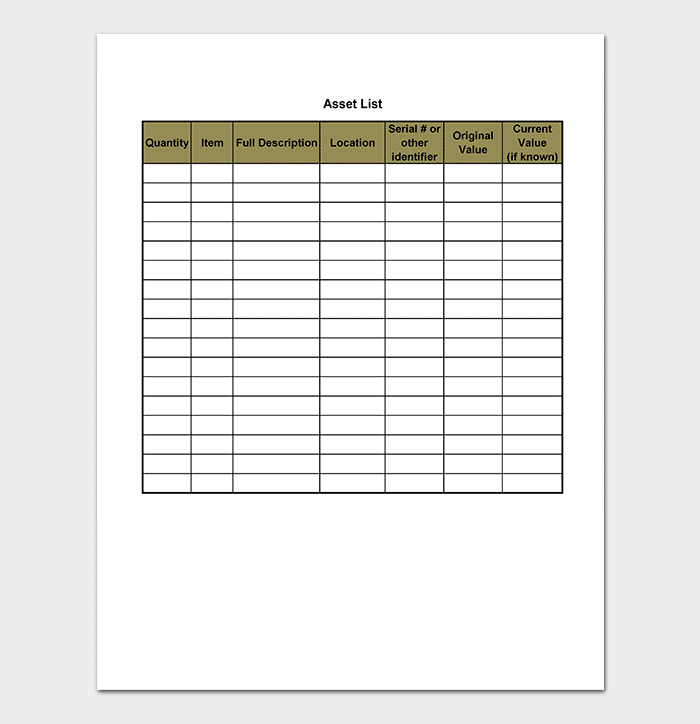 Blank Asset List Template