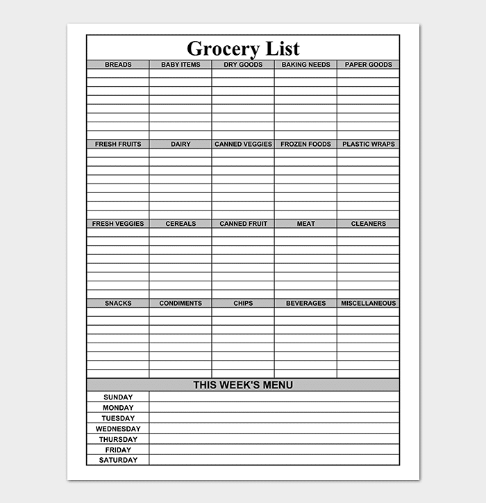 Blank Grocery Shopping List PDF