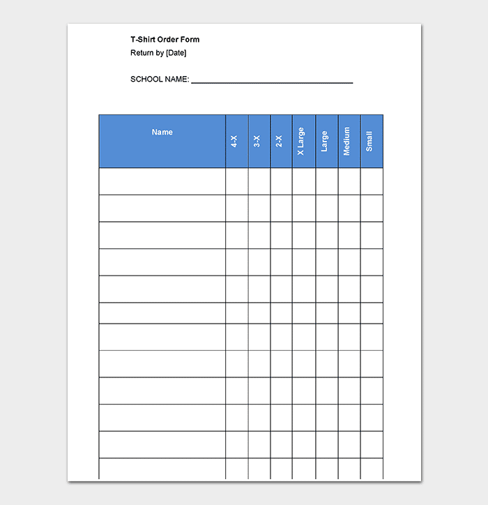 Comprehensive image for printable t shirt order form template