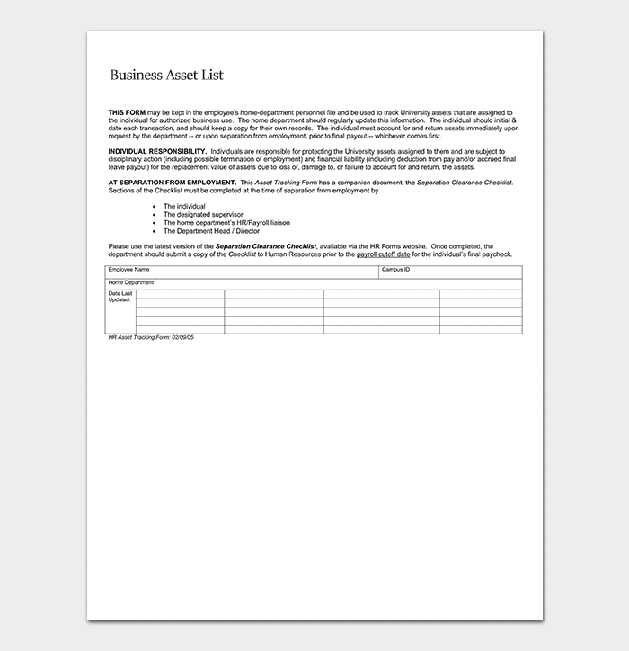 Business Asset List Template