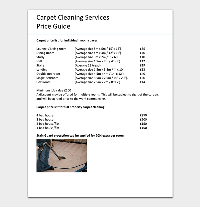 Cleaning Price List Template 12 In Word Pdf Format