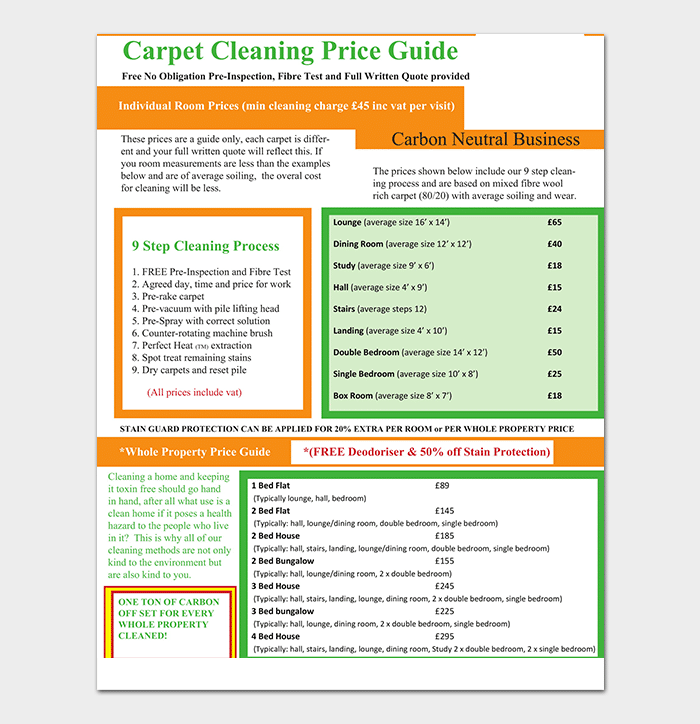 Carpet Cleaning Price Template