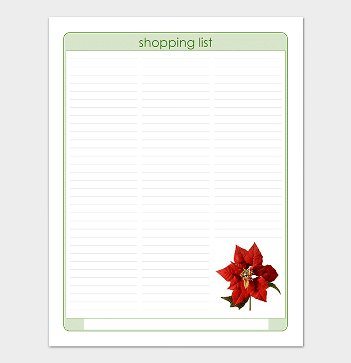 Christmas Shopping List Graphic Template