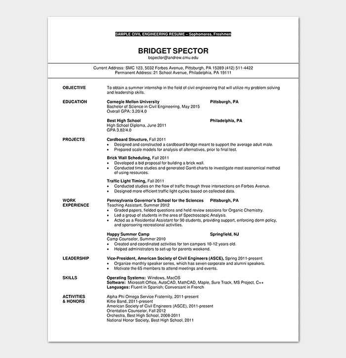 Resume Template For Freshers 18 Samples In Word Pdf