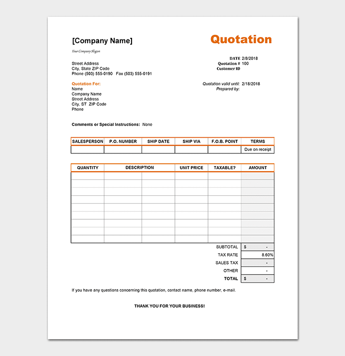Cleaning Price List Witht Tax Template