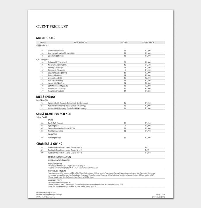 Client Price List Template