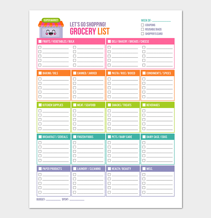 Colorful Eatery Shopping List Template