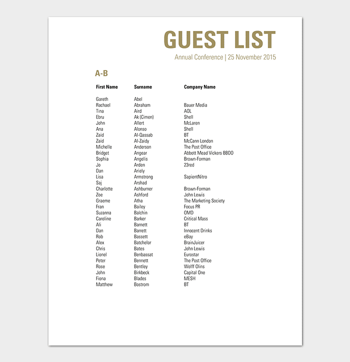Conference Guest List Template