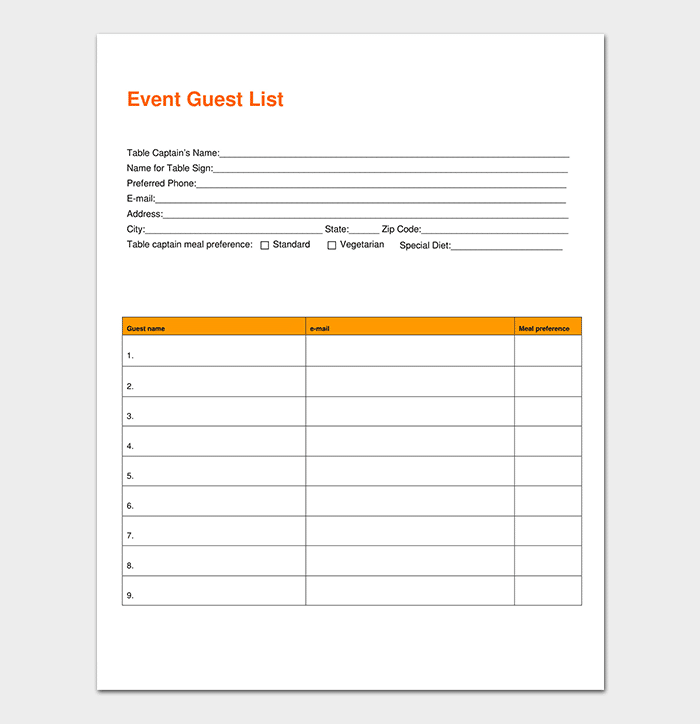 Event Guest List Template